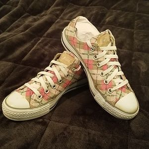 Pink and tan checker converse all-stars